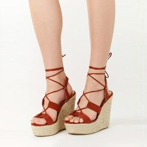 Liliana Rust Faux Suede Lace-Up Espadrille Wedges